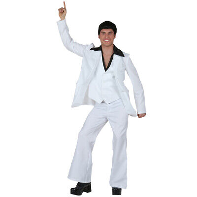 Mens 70s White Disco Suit Saturday Night Fever John Travolta Fancy Dress Costume - John Travolta Costume