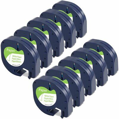 10pk Dymo Letratag Tape Refills 91330 12mm Compatible For Lt-100h White Paper