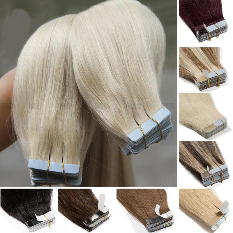 100% Echthaar Russisch 35CM-80CM Tape In On Remy Human Hair Extensions Mixfarben