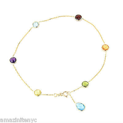 14K Yellow Gold Gemstone Station Anklet With A Blue Topaz Drop 10.5 Inches