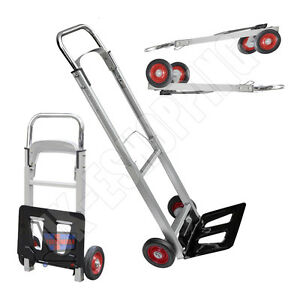 New Folding Hand Cart Foldable Trolley Barrow Sack Truck Aluminium Heavy Duty