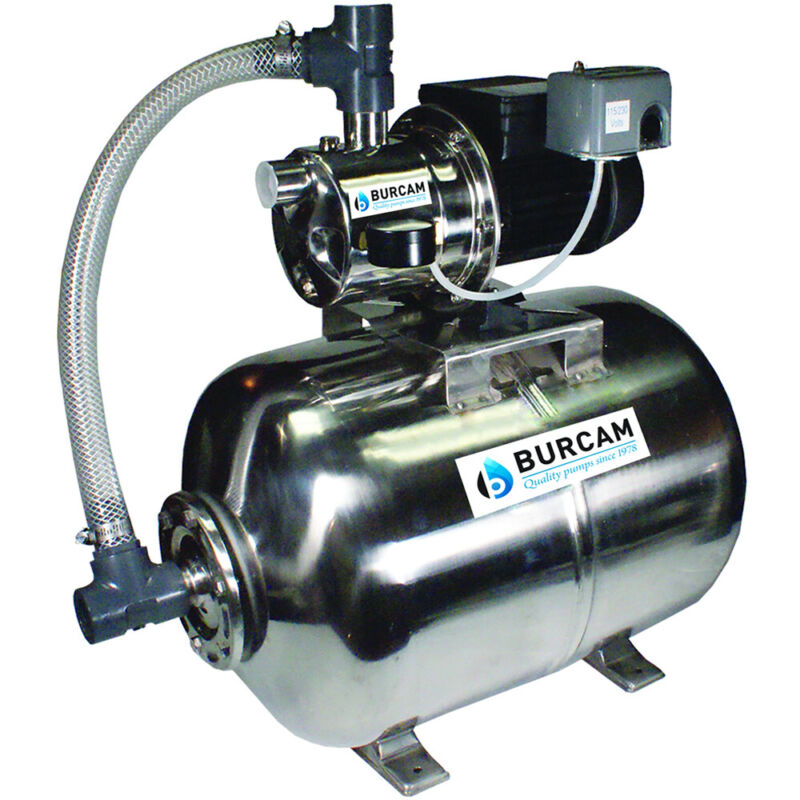 Burcam Pumps 16 GPM 3/4 HP Stainless Steel Shallow Well Jet Pump w/ 16 Gal. S...