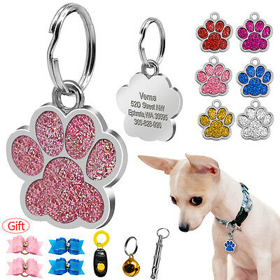- Glitter Paw Print Personalized Dog Tags Disc Engraved Cat ID Tags with Free Gift