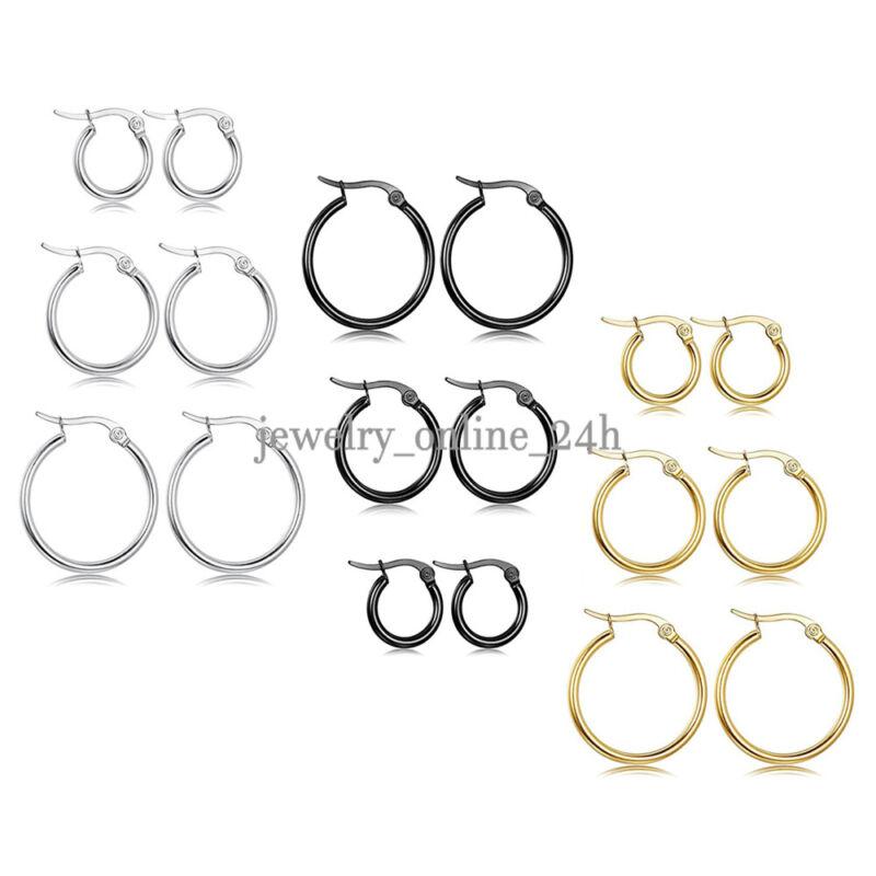 3 Pairs Stainless Steel Hoop Earrings Set Huggie Earrings for Women 10MM-20MM