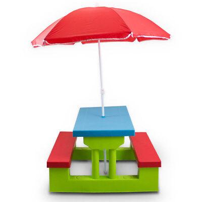 Bituxx Kindersitzgruppe Kindertisch Sitzgarnitur kinderstuhl Kinder Sonnenschirm
