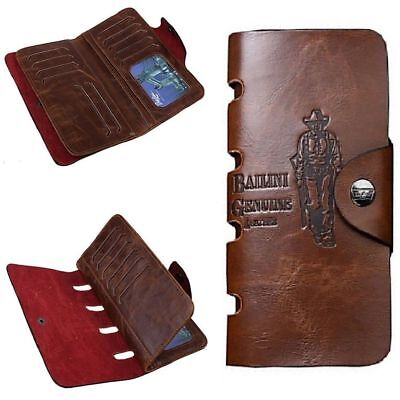 Men's Wallet Leather Cowboy Extra Capacity Checkbook Case ID Credit Card Holder ()