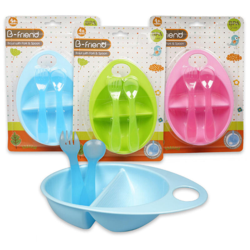 1 BPA Free Baby Bowl Feeding Dish Spoon Fork Container Kids Plate Toddler Child