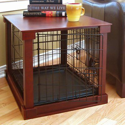 (Indoor Dog Crate Wood Pet Kennel Wooden Side End Table Wire Cage Cover Cherry   )