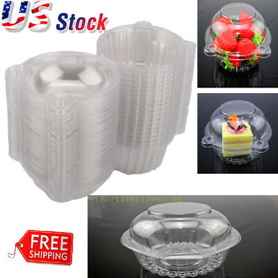 Lots 100-1000 Single Cup cake Case Muffin Pods Dome Holder Clear Plastic - Cup Cake Boxes