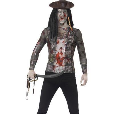 Smi - Herren Kostüm Zombie Pirat Shirt Karneval Fasching Halloween (Weibliche Piraten Halloween Kostüme)