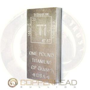 1 lb Pound (16oz) Titanium Bar Element Design .999 Fine CP1 Grade Bullion