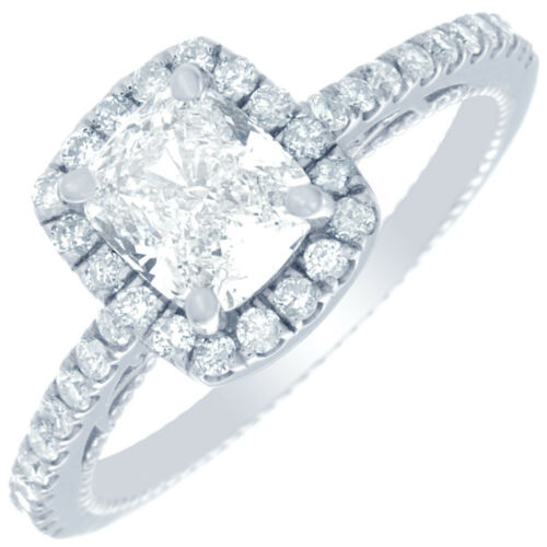 Antique Style Halo Diamond GIA Certified Cushion Engagement Ring 2.20CTW