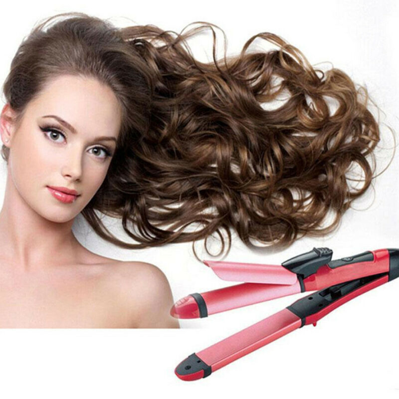 2 In 1 Multifunction Hair Straightener & Hair Curler Beauty Women Tools