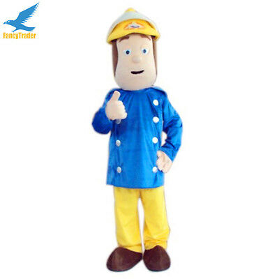 Fireman Sam Halloween Costumes (2020 Fireman Sam Mascot Costume Halloween Birthday Party Game Adult Fancy)