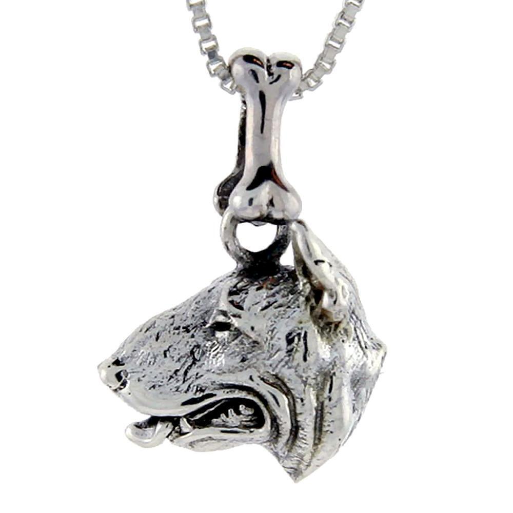 Argent sterling bull terrier chien tête pendentif / breloque,18