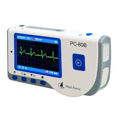 Portable Handheld Ecg Ekg Monitor Patient Heart Rate Machinecable Pads Pc-80b