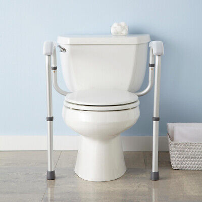 Adjustable Toilet Safety Frame Rail 375lbs Grab Bar Support Assist Handicap Adjustable Toilet Safety Rail