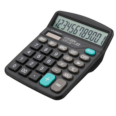 Solar Battery Desktop Calculator Basic 12-Digit Large Display Office Business US