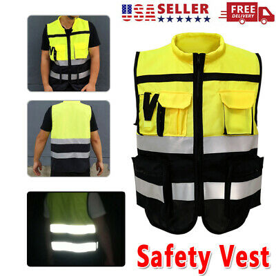 High Visibility Safety Working Vest W Zipper Reflective Jacket Secure Waistcoat