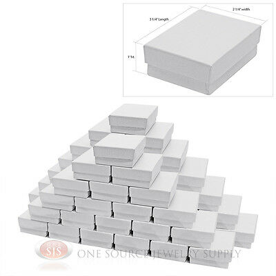 50 White Swirl Cardboard Cotton Filled Jewelry Gift Boxes 3 14 X 2 14 X 1