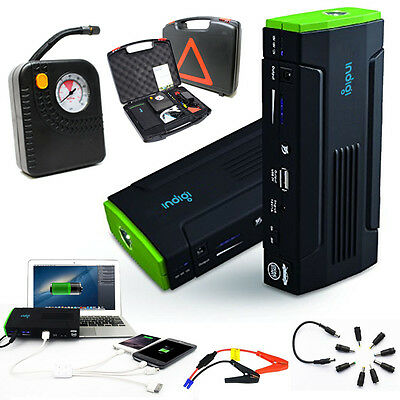 Indigi 12800mAh Heavy Duty Portable Power Bank + Jump Starter + Tire Compressor