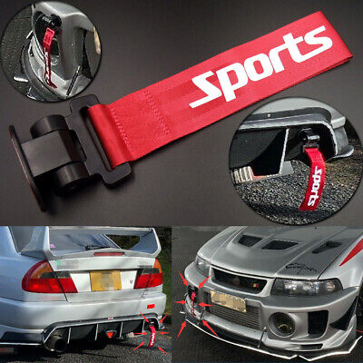 Red Universal Car Bumper Racing Sports Style Tow Hook Strap Body Decorative Rope