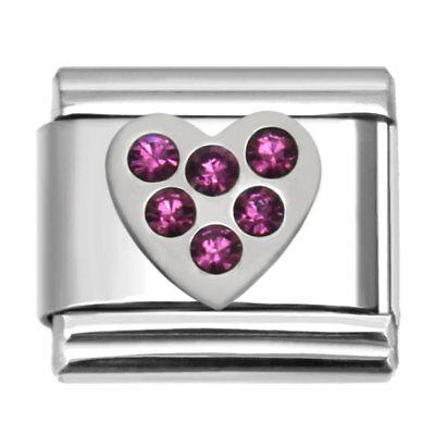February Birthstone Heart Charm for Modular Jewelry Italian Charm Bracelets RH02