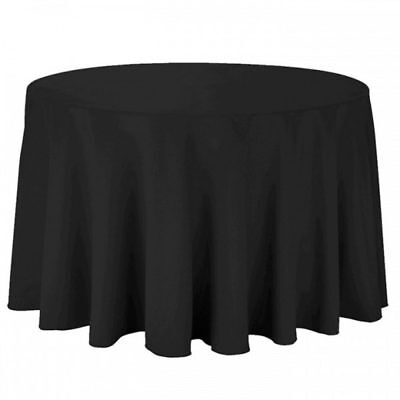 "108"" Round Polyester Tablecloth Black Wedding, Birthday, Event, Table Cloth"