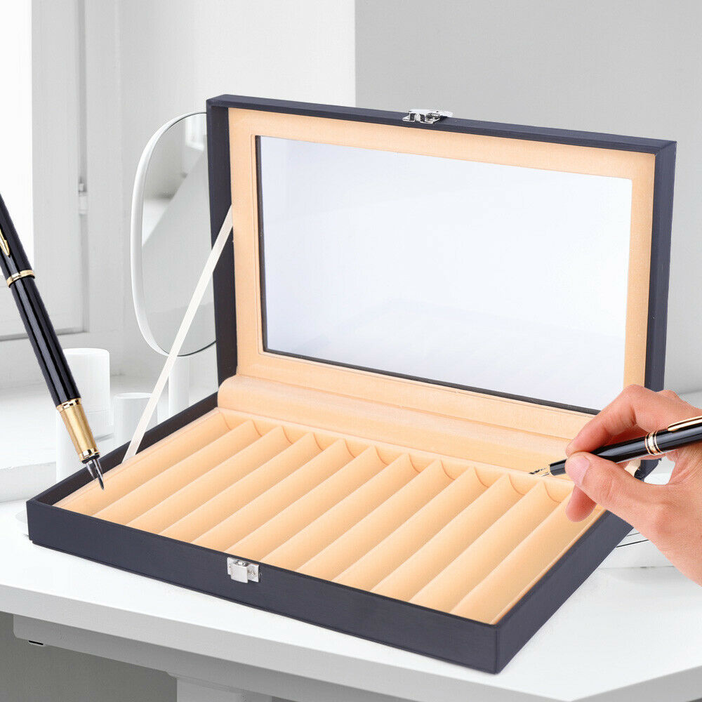Wood Pen Case 12 Slot PU Leather Fountain Pen Display Case Storage Collector Box