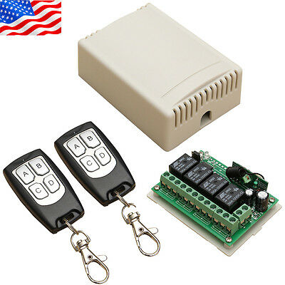 BEST 12V 4CH Channel Wireless Remote Control Relay Switch Transceiver Receiver S