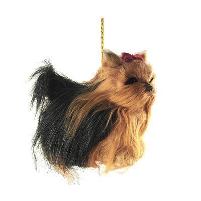 Yorkshire Terrier Plush Dog Christmas Ornaments, Black, 4-Inch