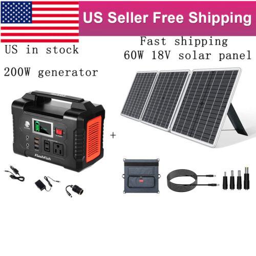 1PC 200W Solar Generator Backup Battery Pack CPAP+1PC 60W 18V Solar Panel Type-C