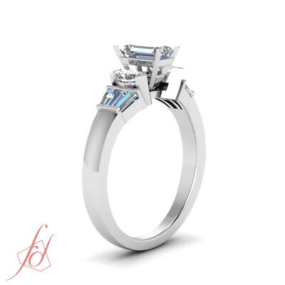1 Carat Emerald Cut White Gold Diamond Engagement Rings For Women GIA Certified 2