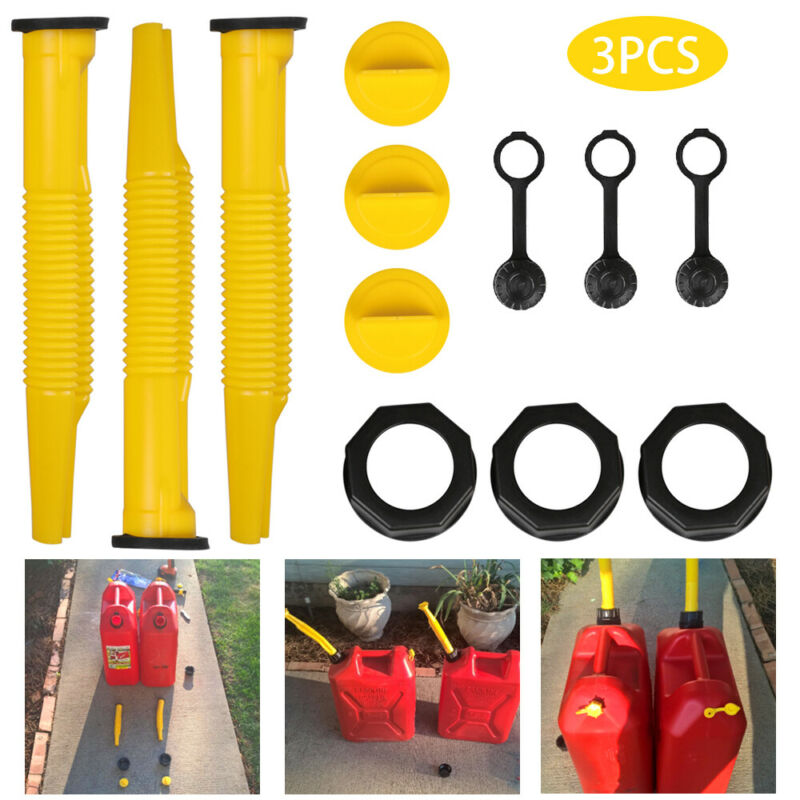 3 Pack Replacement Gas Can Spout / Nozzle and Vent Kit for Plastic Gas Cans US