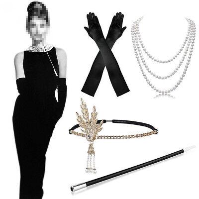 Flapper Girl Accessories (5pcs Ladies 1920s Flapper Girl Fancy Dress Accessories Set Hen Party)