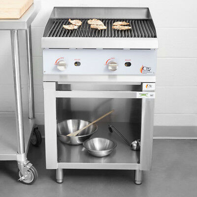 24 Natural Gas Radiant Freestanding Restaurant Charbroiler With Cabinet Base