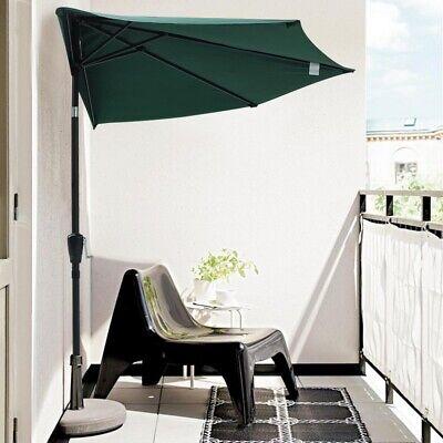 10' Patio Outdoor Aluminum Half Umbrella Cafe Restaurant Sun Shade Parasol Green ()
