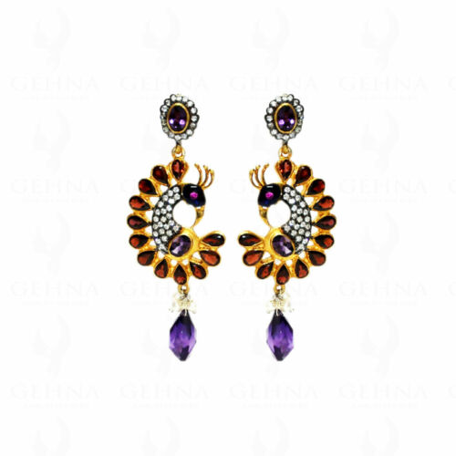 925 Silver Rose Cut Diamond Earrings Garnet Amethyst Enamel Antique Look Jewelry