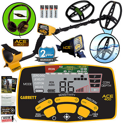 Garrett ACE 400 Metal Detector with 8.5 x 11 DD Waterproof Coil & 3 Accessories