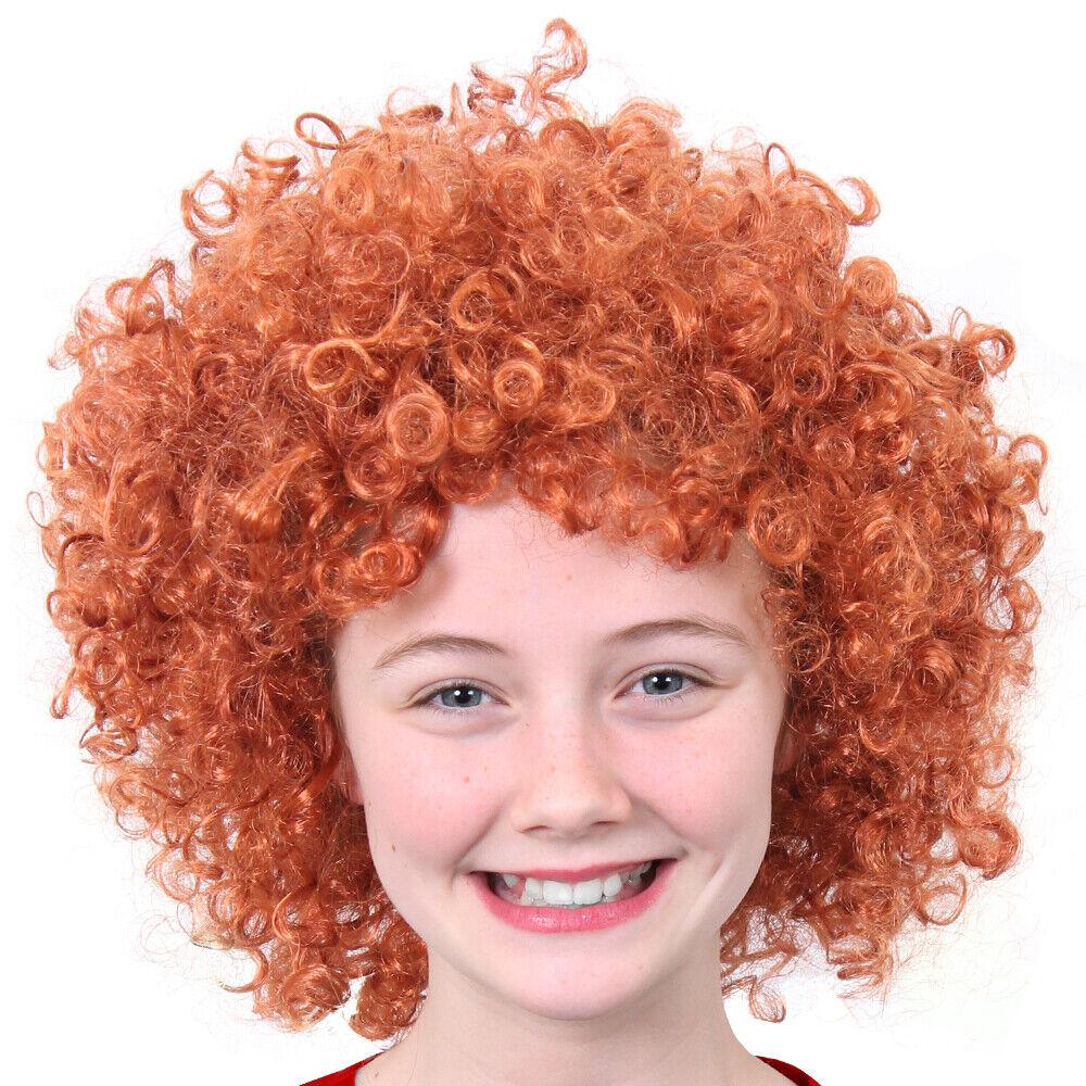 Childs Ginger Afro Wig Short Curly Orange Hair Musical Film Fancy Dress Costume Ebay