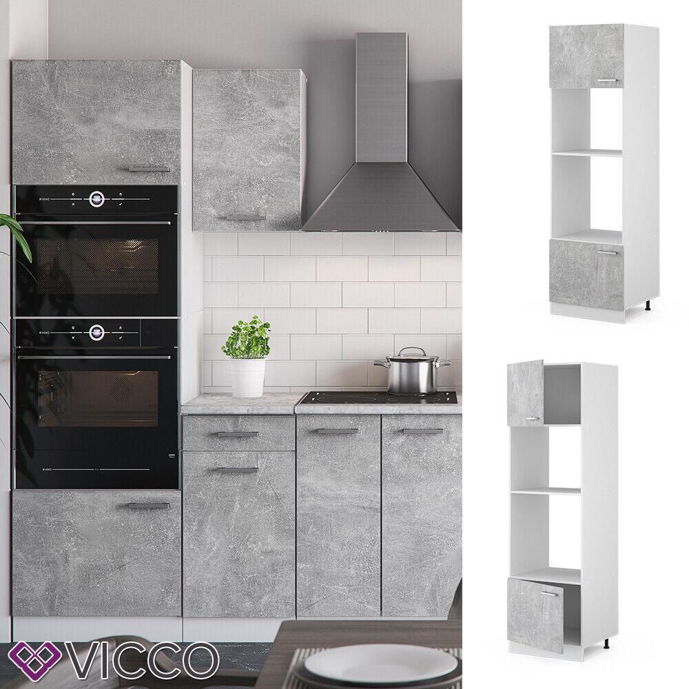 VICCO Küchenschrank Hängeschrank Unterschrank Küchenzeile R-Line Mikrowellenumbauschrank 60 cm beton