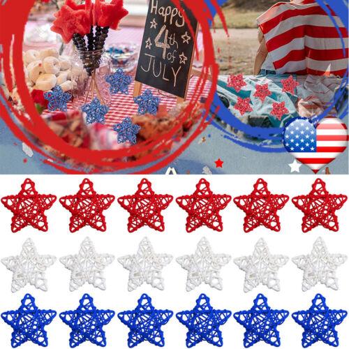 30pcs Patriotic Stars Natural Rattan Balls 4th of July Pentagram Hanging Decor