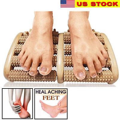 Wooden Massage - Large Dual Foot Massager Roller Feet Relax Wooden Bamboo Foot Pain Massage-New