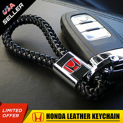 Red Honda Logo Emblem Key Chain Metal Alloy Leather Gift Decoration Accessories