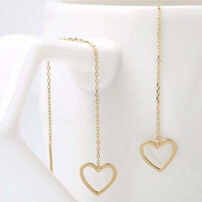 TPD Solid 14K Yellow Gold Lovely Line Long Threader Drop Dangle a Pair Earrings