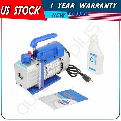 Blue 3 Cfm 14 Hp Rotary Vane Deep Vacuum Pump Hvac Ac Refrigerant Charge 110v