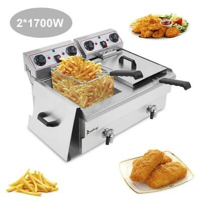 Zokop 2 Tank 25qt Stainless Steel Electric Deep Fryer Fry Commercial Silver 2020
