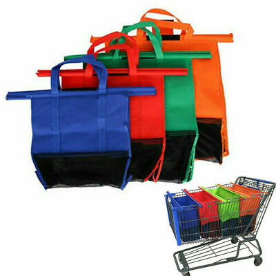 Supermarket Trolley Bags Set of 4 Reusable Shopping Bags Washable UK Z3I4