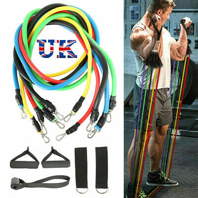 11PCS Resistance Bands Set Pull Rope Home Gym Equipment Workout Fitness Exercise