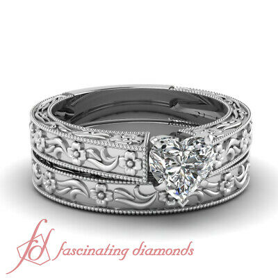 Vintage Style Solitaire Wedding Rings Set 0.50 Ct Heart Shaped VS2 Diamond GIA